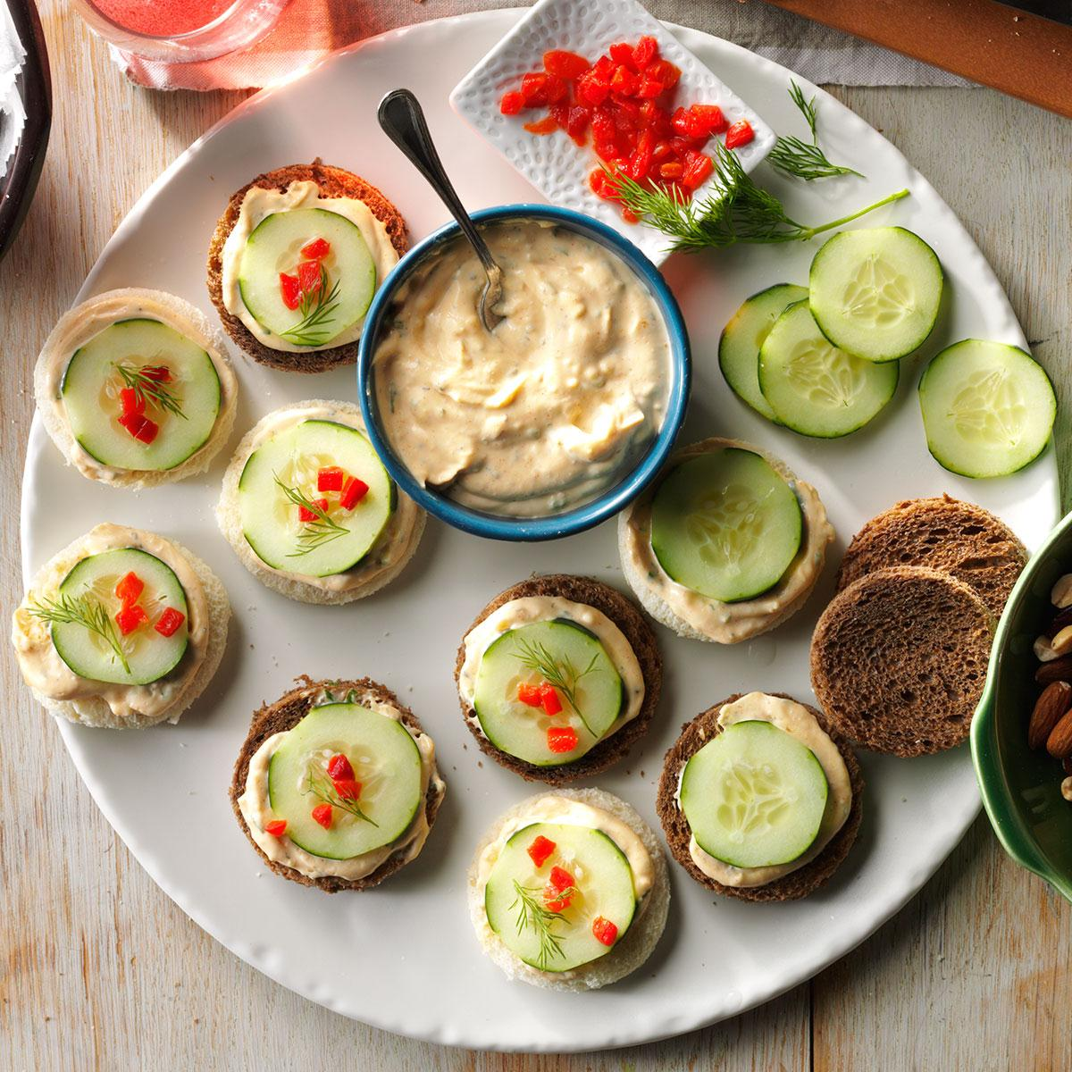 cucumber canapes recipe taste of home - Canapes