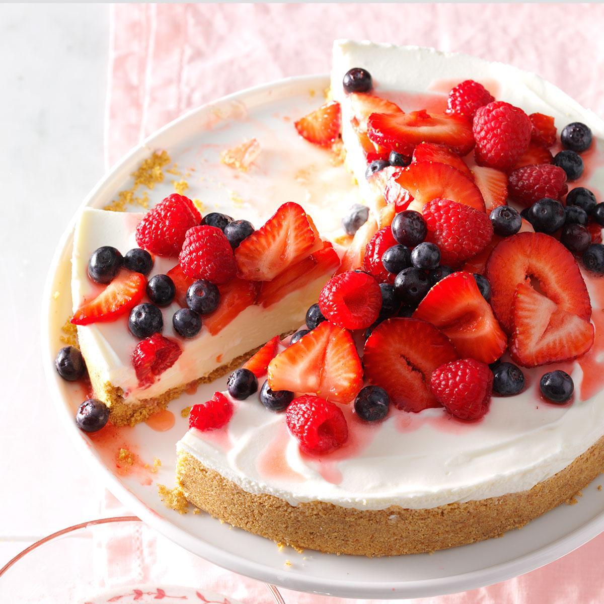 triple berry no bake cheesecake recipe taste of home