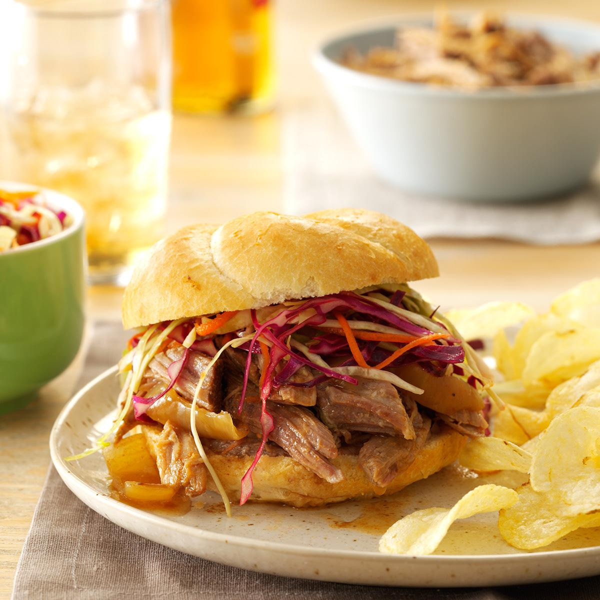 Sweet Spicy Pulled Pork Sandwiches Recipe Taste Of Home