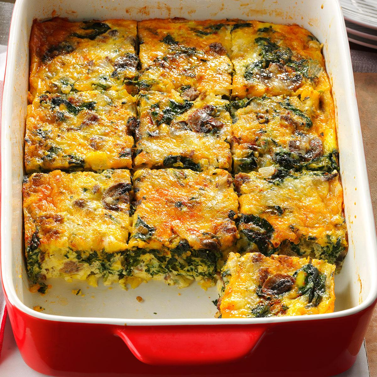 Christmas Brunch Recipes.Eggs Florentine Casserole