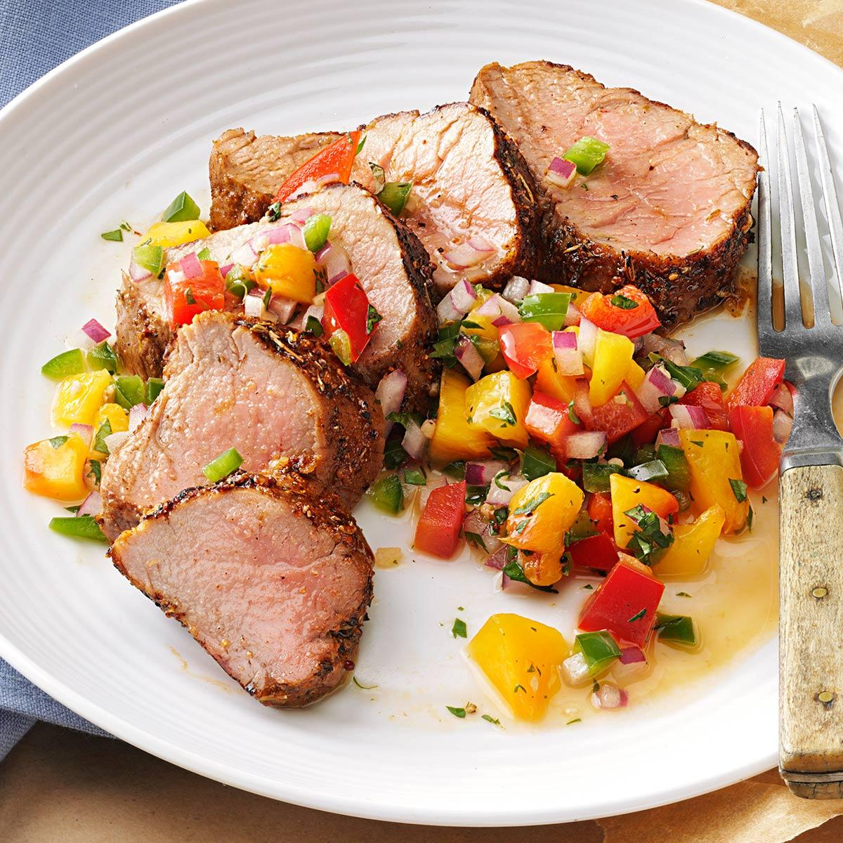 Caribbean spiced pork tenderloin with peach salsa taste of home forumfinder Image collections