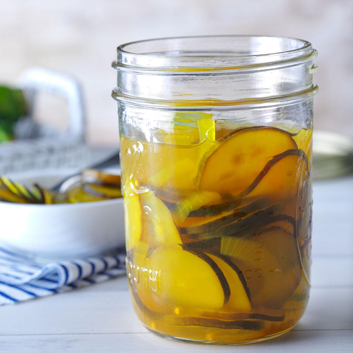 Sweet And Sour Zucchini Pickles Recipe Taste Of Home