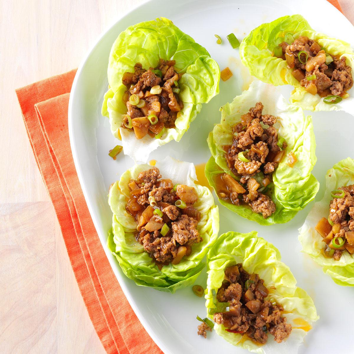 Ginger Pork Lettuce Wraps Recipe Taste Of Home