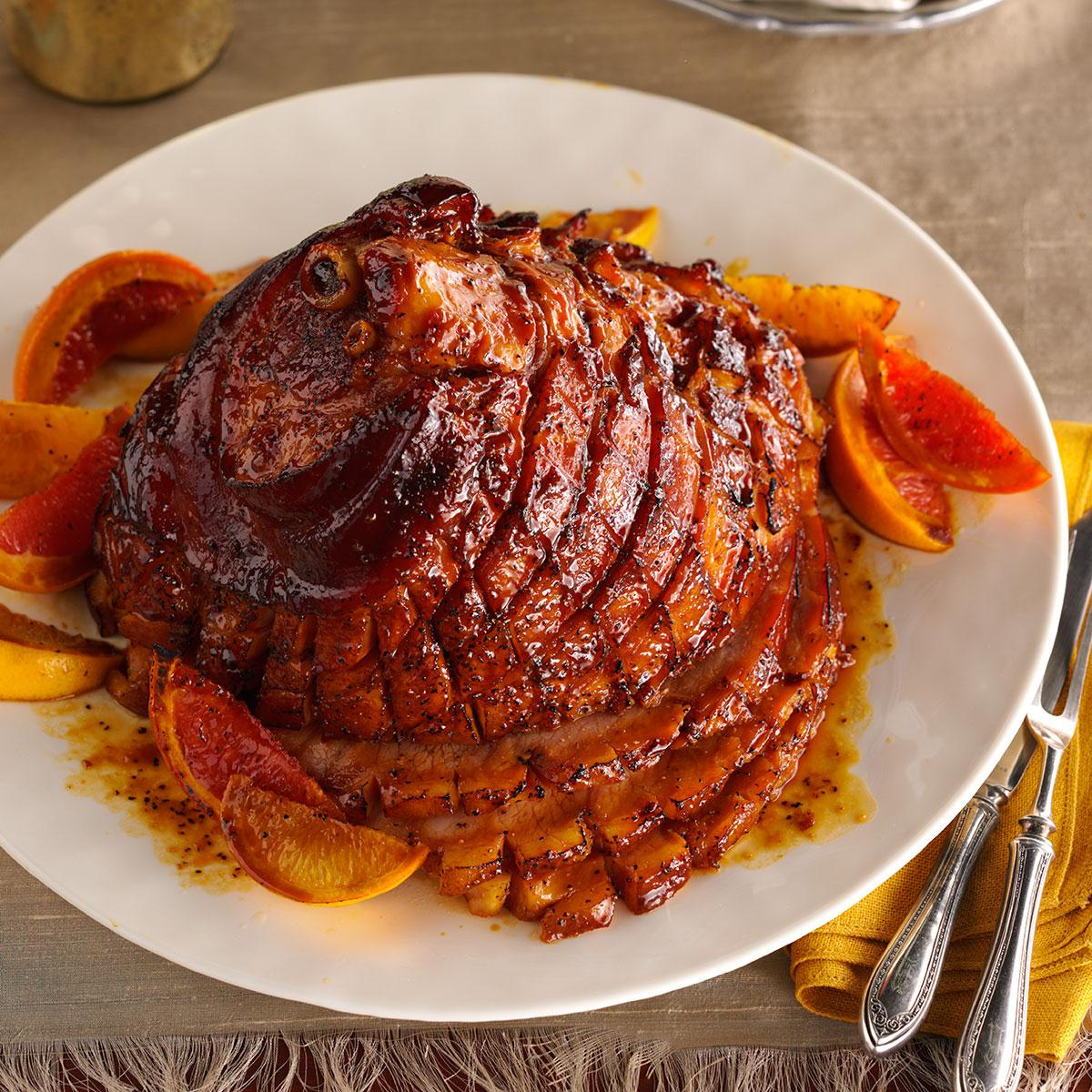 Christmas Ham Recipes.Citrus Molasses Glazed Ham