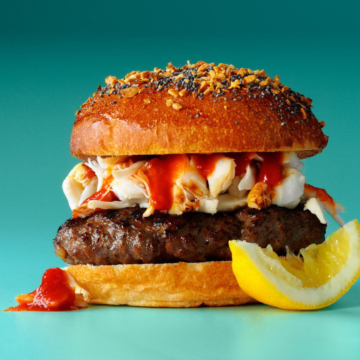 Surf Burgers >> Surf Turf Burgers Recipe Taste Of Home