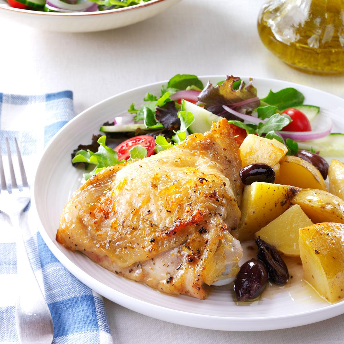 Greek style lemon garlic chicken taste of home forumfinder Choice Image