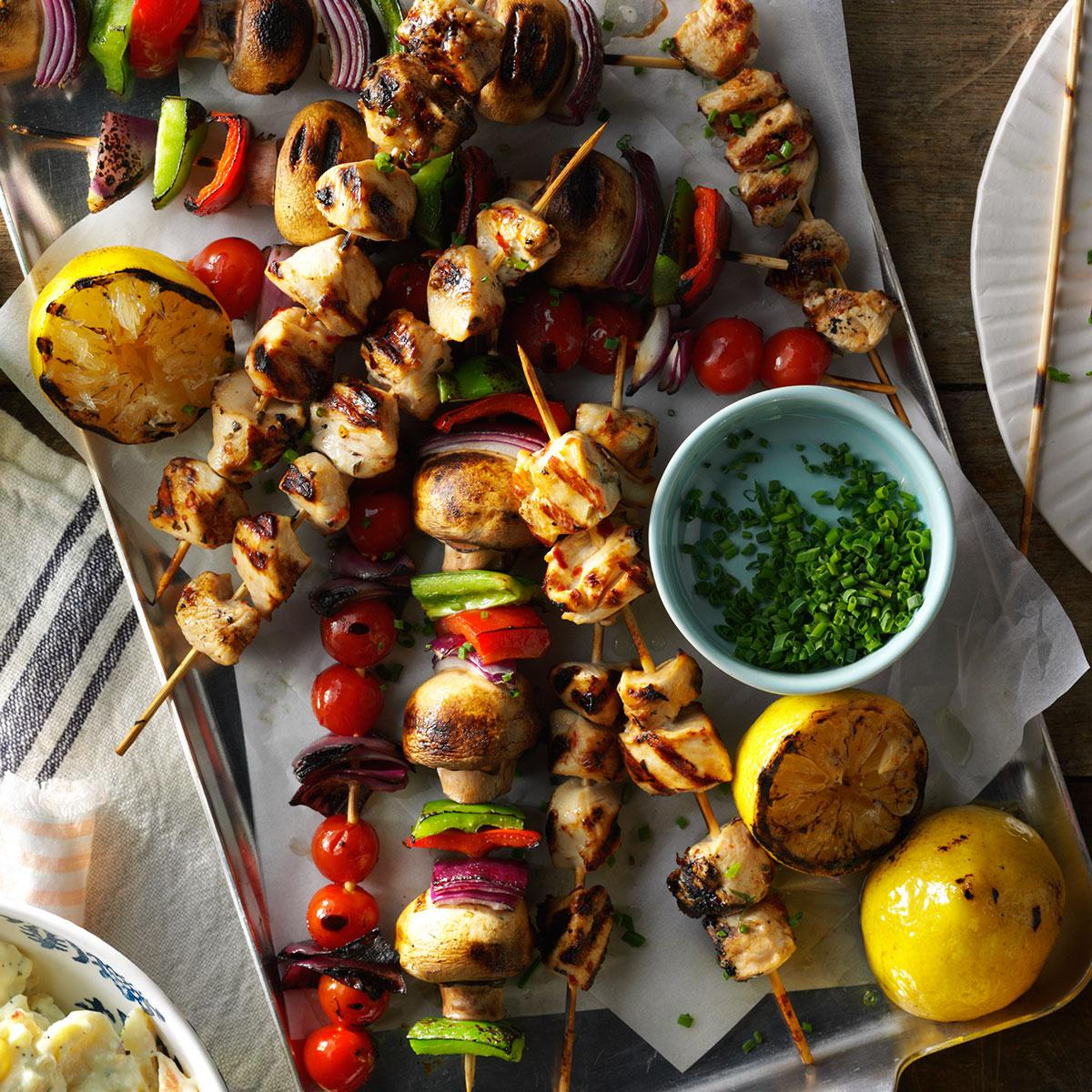 Spicy lemon chicken kabobs taste of home forumfinder Image collections