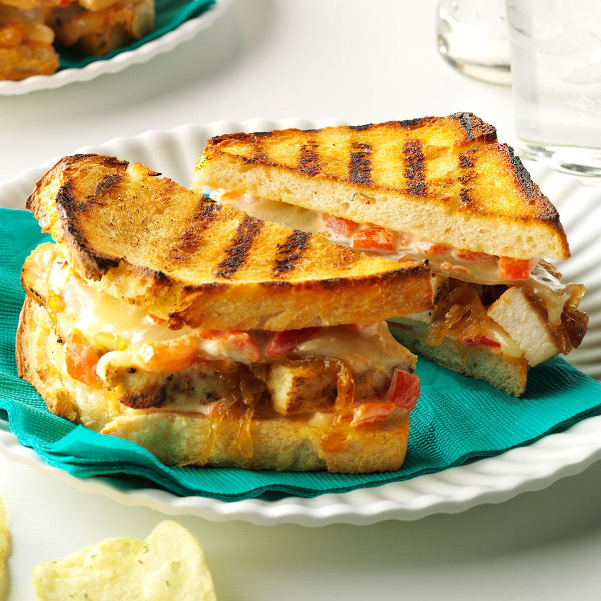 Chicken Caramelized Onion Grilled Cheese