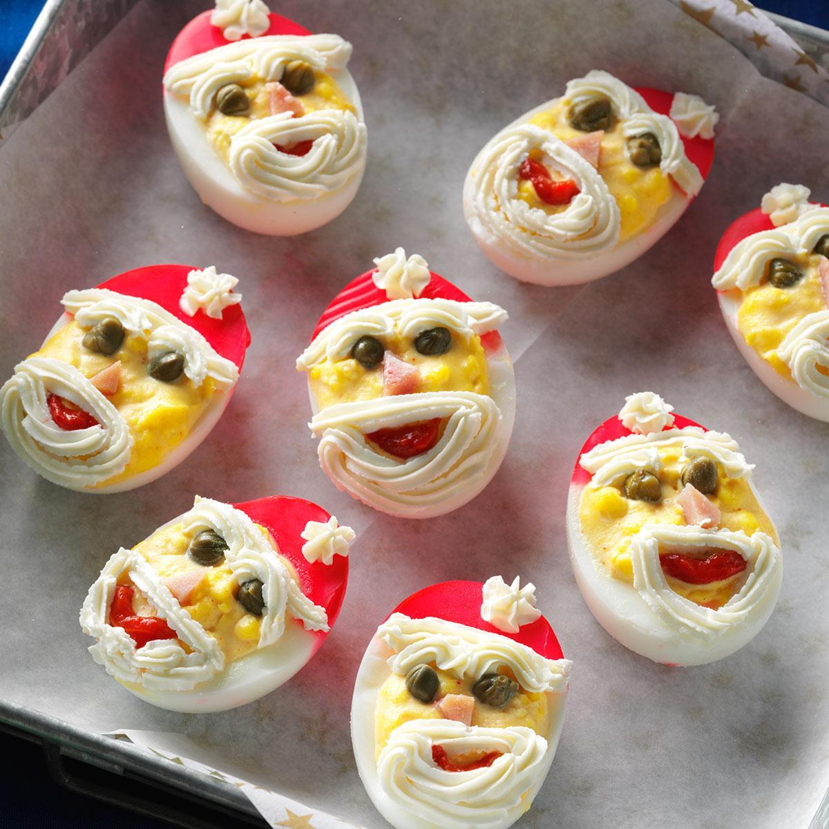 santa deviled eggs recipe taste of home - Christmas Deviled Eggs