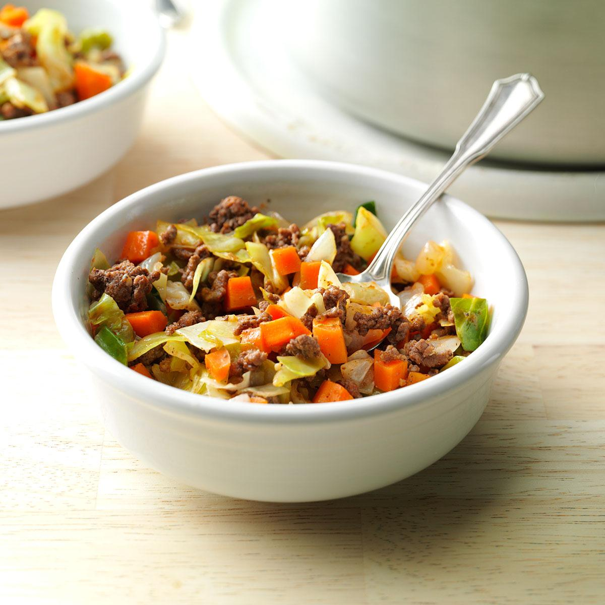 Saucy Beef Cabbage Supper Recipe