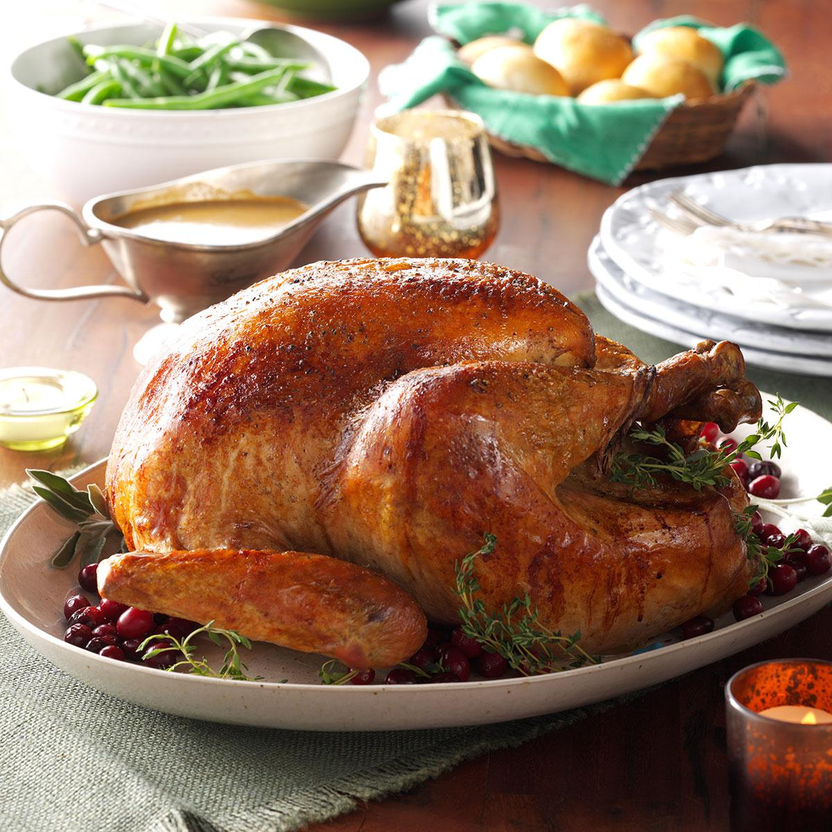 roasted sage turkey with vegetable gravy recipe taste of home - Best Christmas Dinners