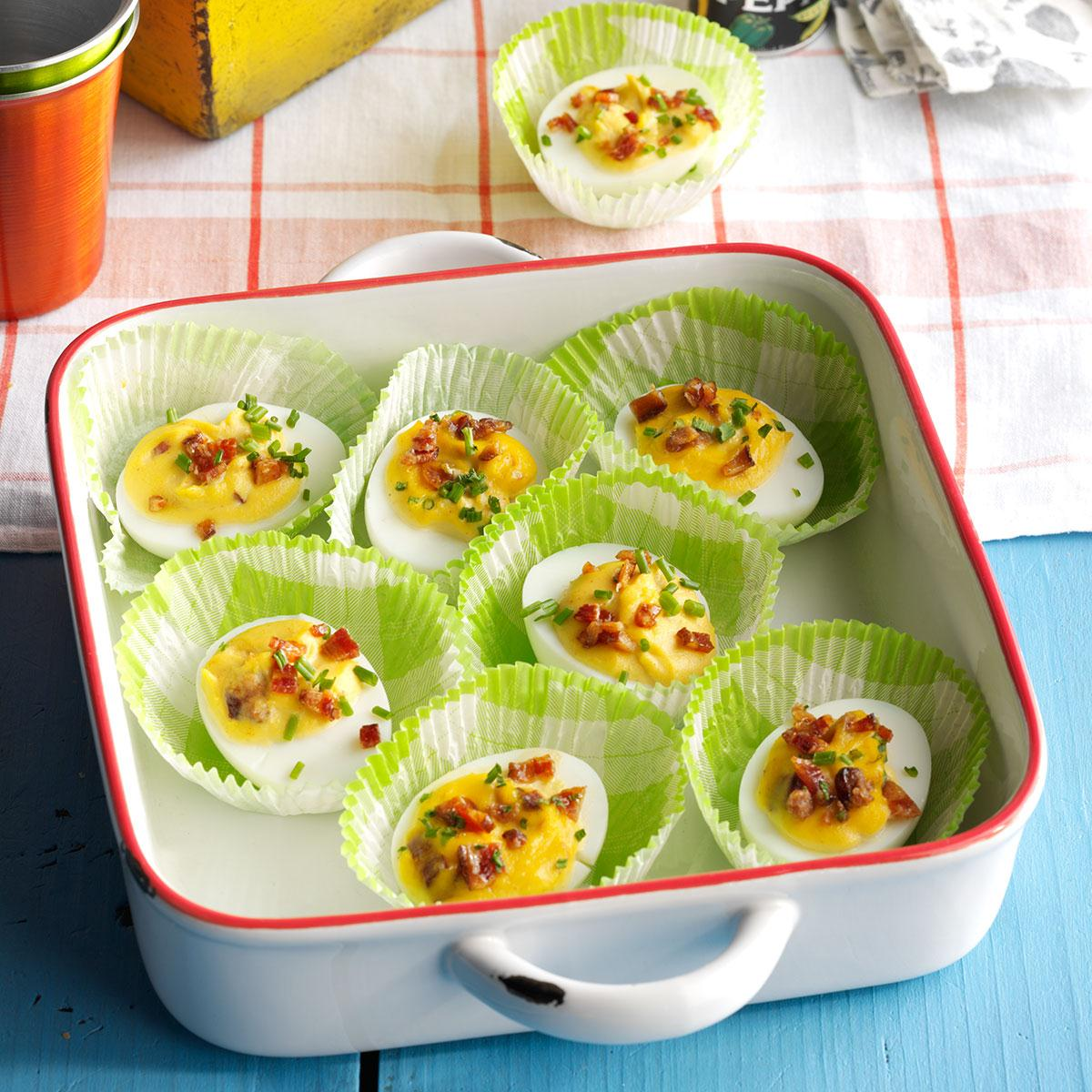 Bourbon candied bacon deviled eggs recipe taste of home forumfinder Choice Image