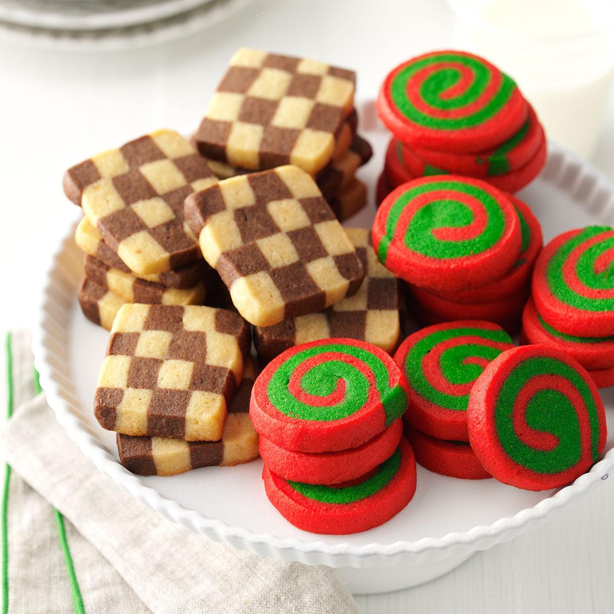 pinwheels and checkerboards recipe taste of home - Easy Christmas Cookie Recipes