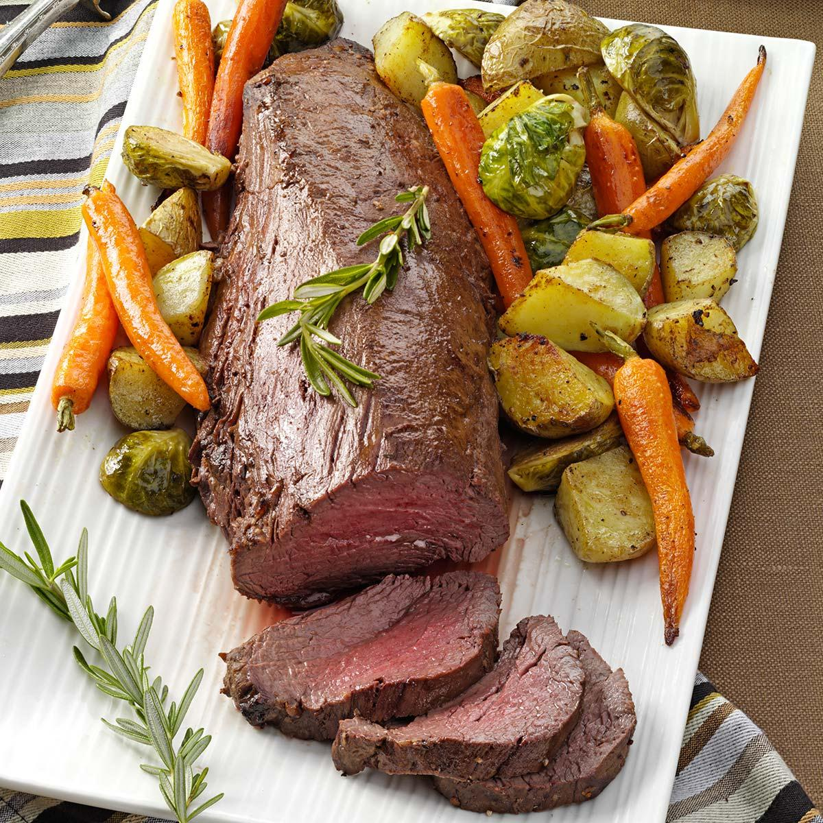 beef tenderloin with roasted vegetables recipe taste of home - Christmas Meat Recipes