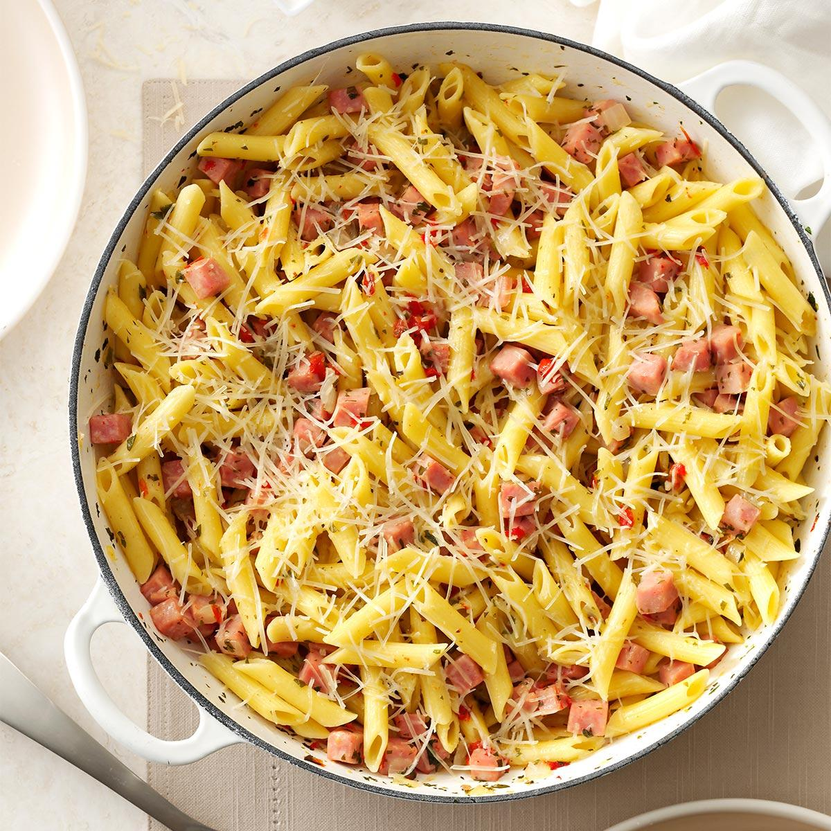pretty penne ham skillet recipe | taste of home