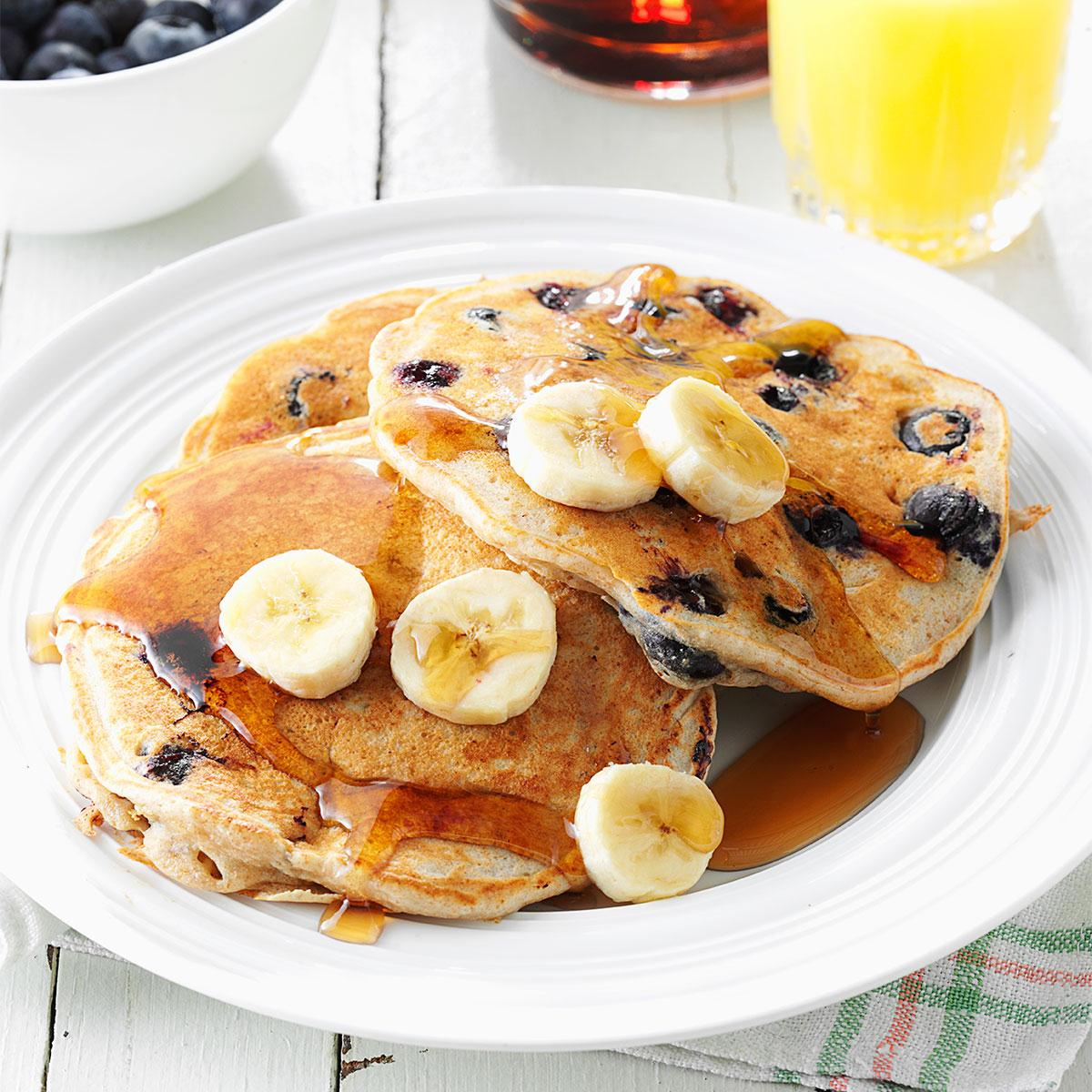 Banana blueberry pancakes recipe taste of home ccuart Gallery