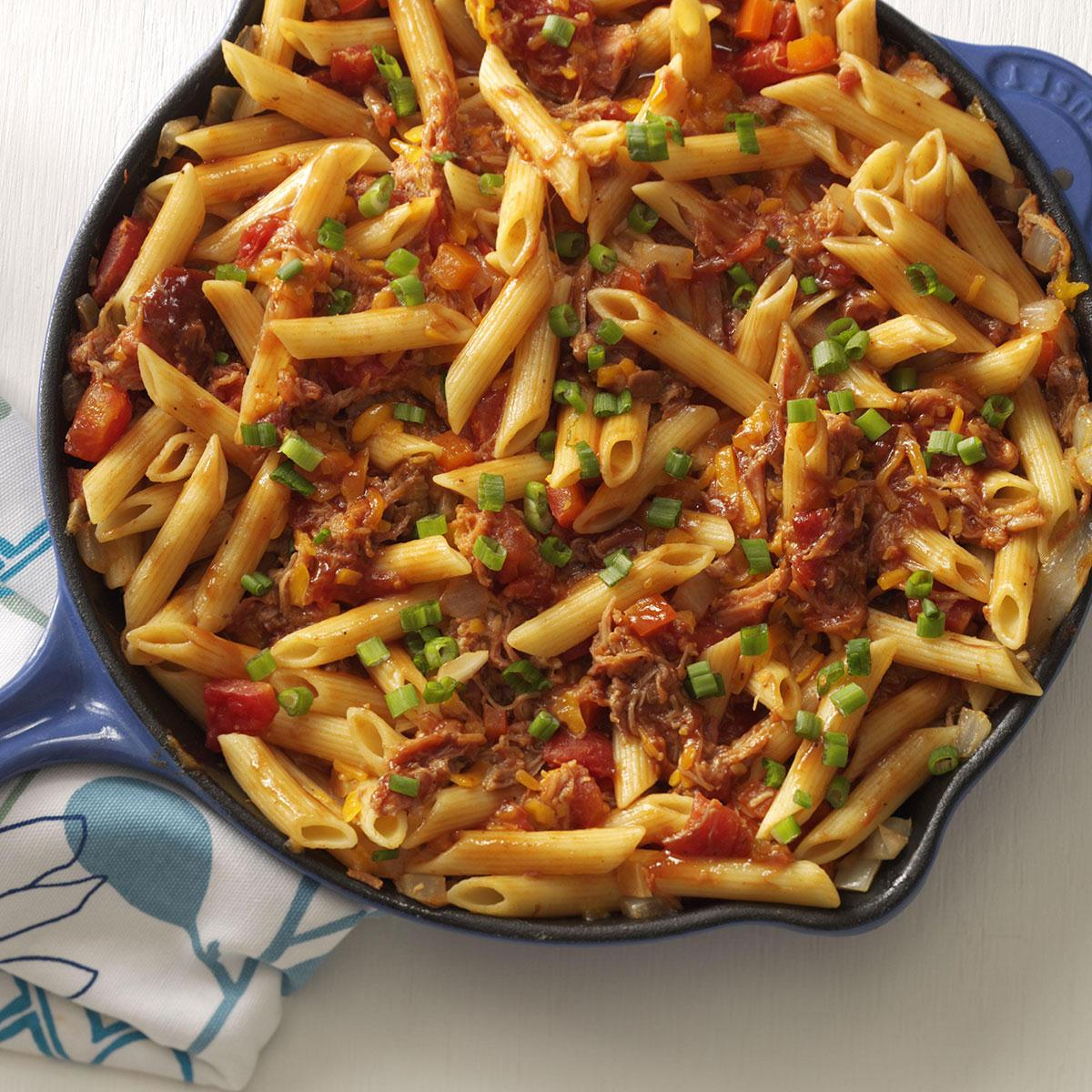 Barbecue Pork And Penne Skillet Recipe Taste Of Home