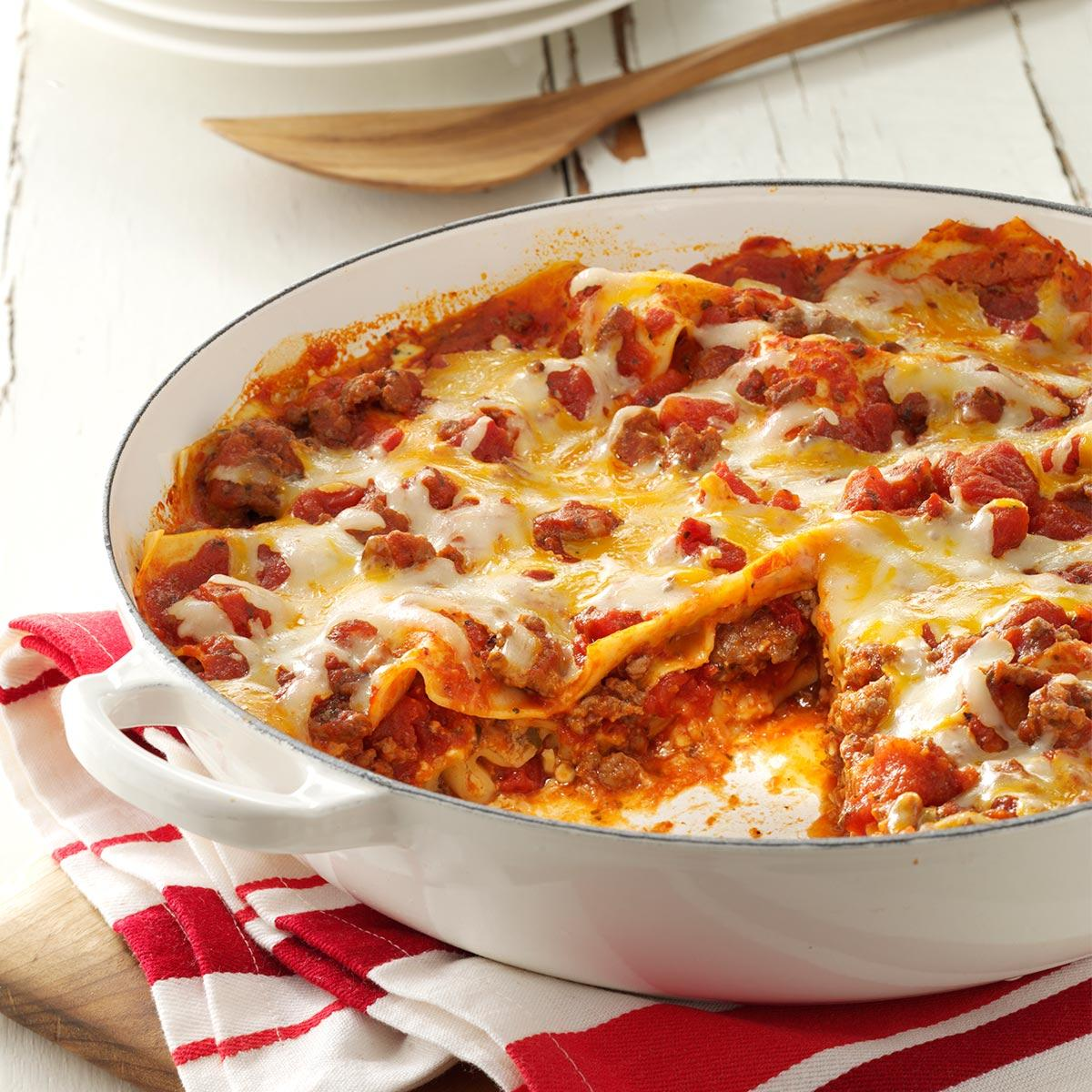 one skillet lasagna recipe taste of home
