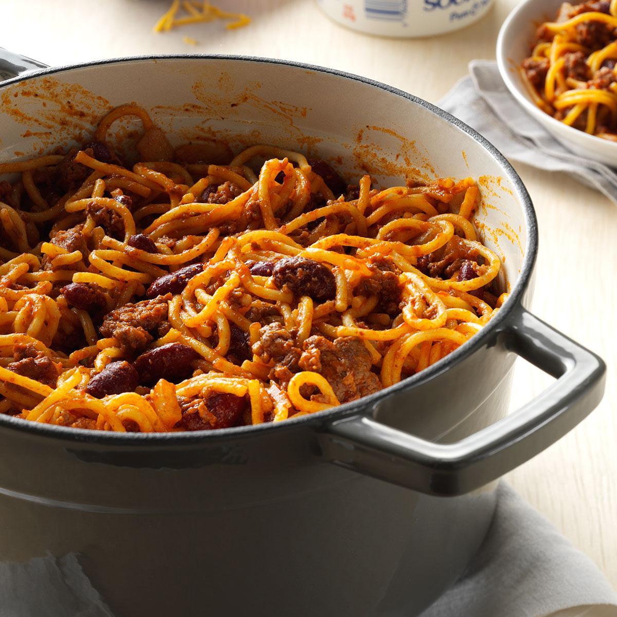 One Pot Chilighetti Recipe Taste Of Home