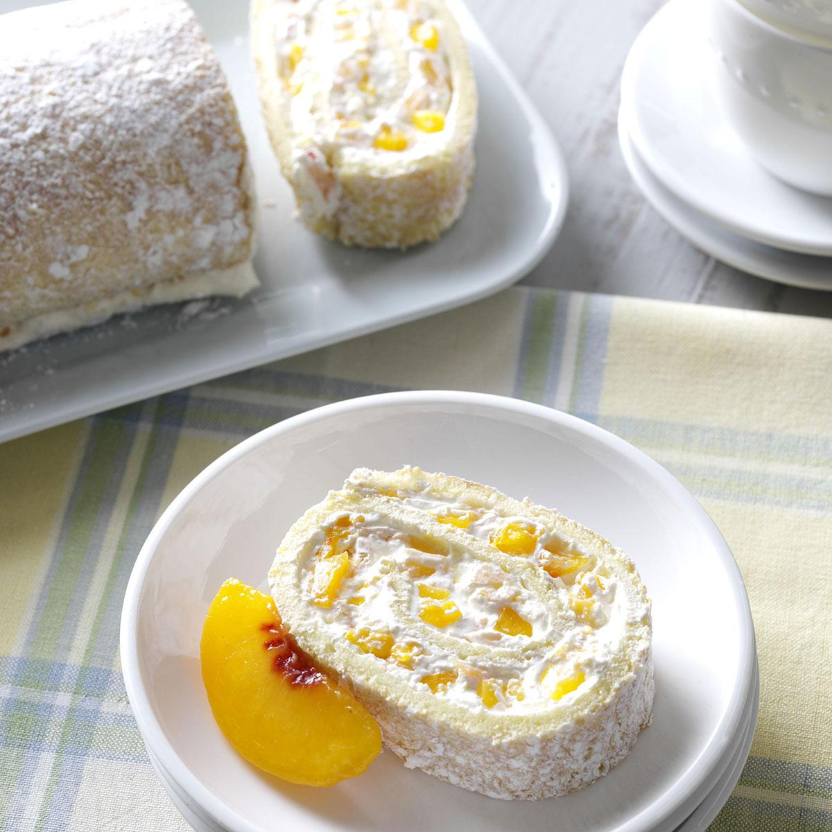 Peaches & Cream Jelly Roll | Taste of Home