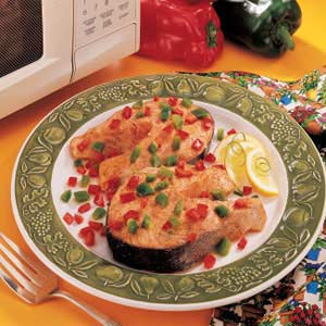 Confetti Salmon Steaks Recipe Taste Of Home
