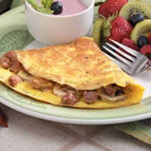 Mushroom Sausage Omelets Recipe