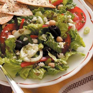 greek garden salad with dressing recipe taste of home - Garden Salad Recipe
