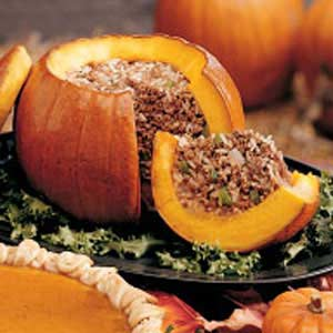 stuffed pumpkin dinner recipe taste of home