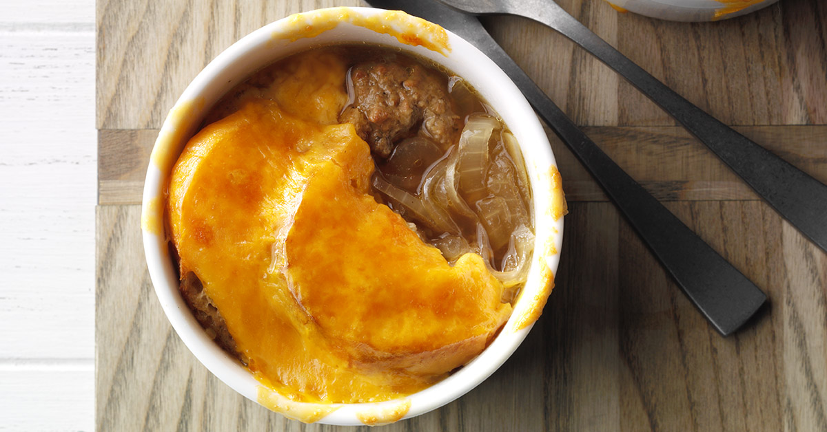 French Onion Soup with Meatballs