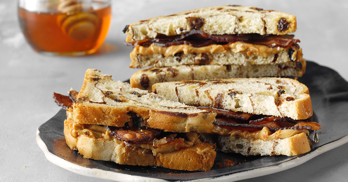 Sweet & Spicy Peanut Butter Bacon Sandwiches